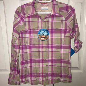 NWT Columbia Plaid Longsleeve  SPF Button Shirt